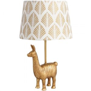 gold llama lamp, llama themed home decor
