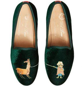 llama velvet green loafers