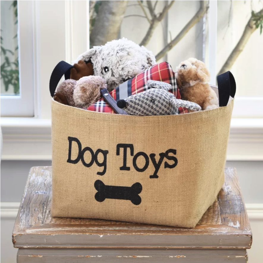 cute dog toy storage basket, dog room decor