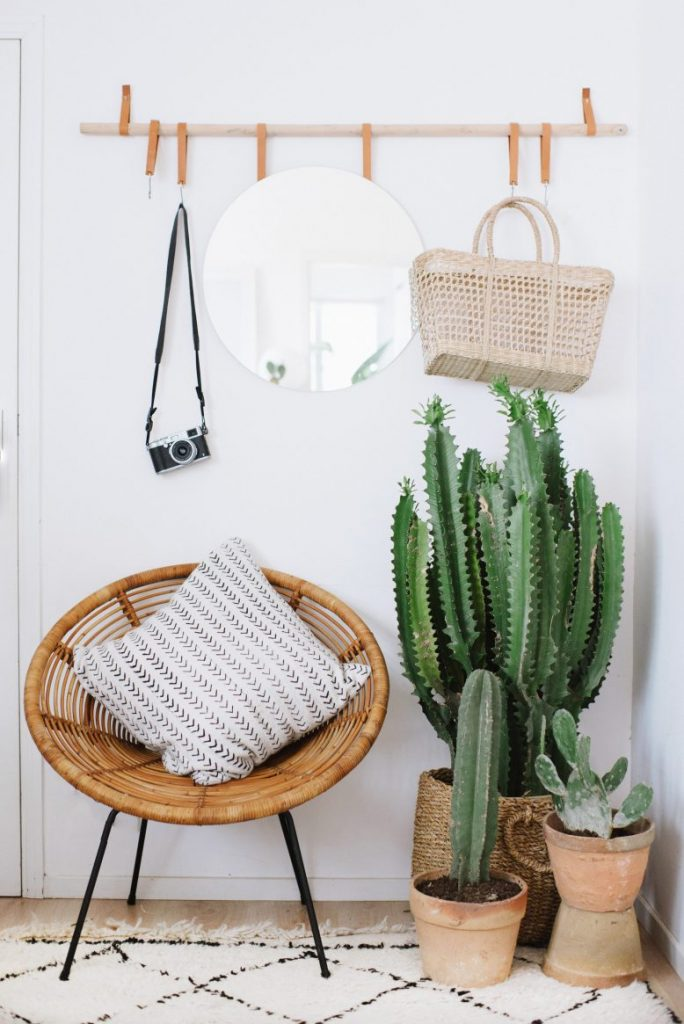 LOOK FOR LESS: 3 Designer Inspired Modern Boho Entryways under $570 each using only Target products. Boho-chic, bohemian decor, modern boho entryway, cacti, wicker patio chair. Image source: A Pair & a Spare.