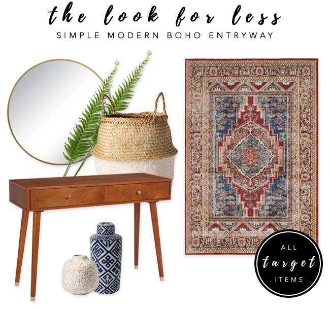 LOOK FOR LESS: 3 Designer Inspired Modern Boho Entryways under $570 each using only Target products. Modern boho entryway. #bohochic #modernboho #targetstyle