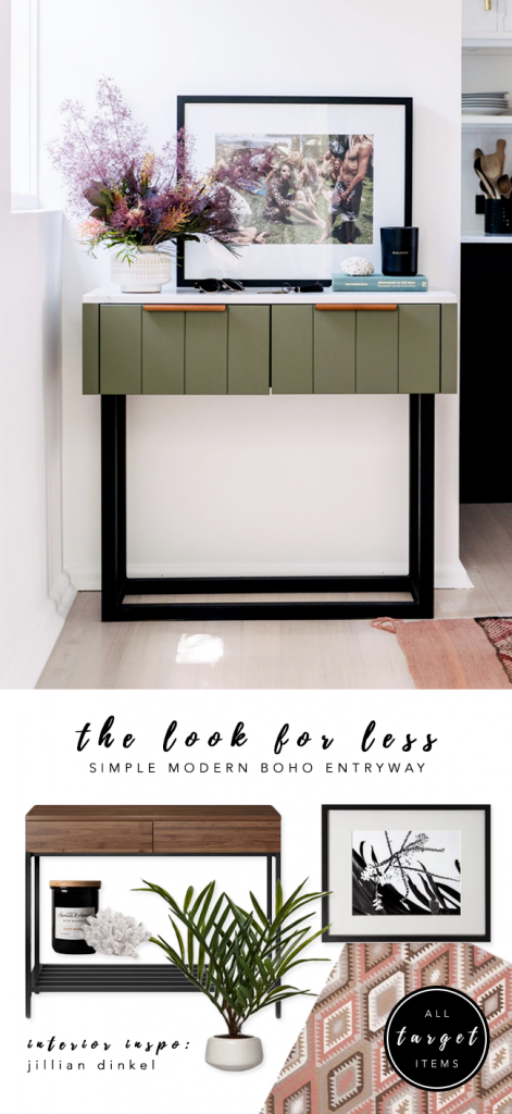 LOOK FOR LESS: 3 Designer Inspired Modern Boho Entryways under $570 each using only Target products. Boho-chic, bohemian decor, modern boho entryway. Interior inspiration: Jillian Dinkel. #bohochic #targetstyle