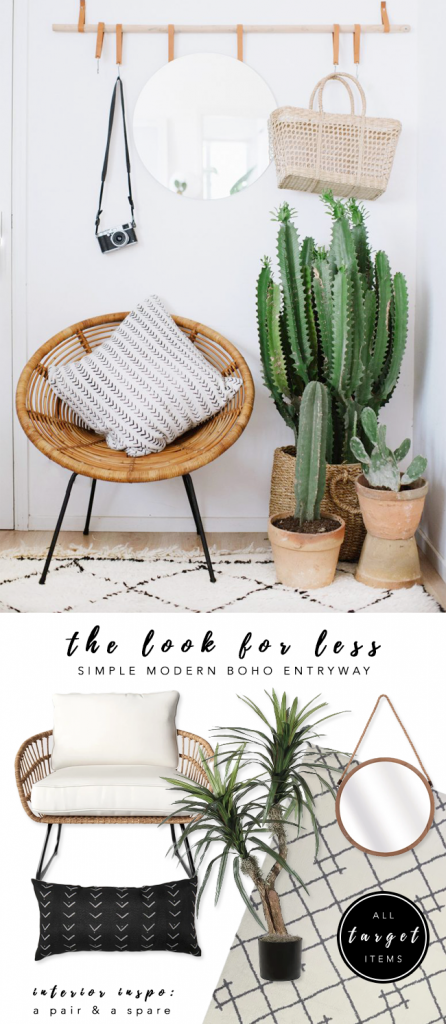 LOOK FOR LESS: 3 Designer Inspired Modern Boho Entryways under $570 each using only Target products. Boho-chic, bohemian decor, modern boho entryway, cacti, wicker patio chair. Interior inspiration: A Pair & a Spare. #bohochic #targetstyle