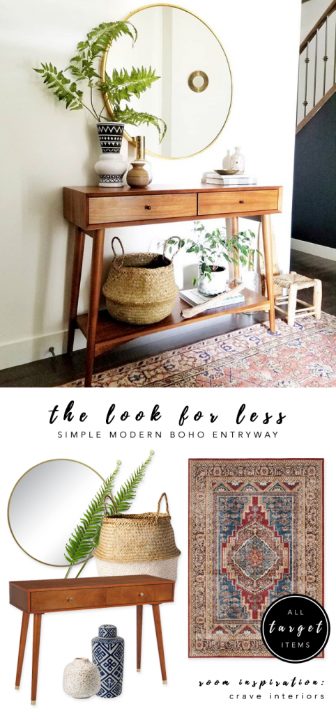 LOOK FOR LESS: 3 Designer Inspired Modern Boho Entryways under $570 each using only Target products. Boho-chic, bohemian decor, modern boho entryway, midcentury console. Interior inspiration: Crave Interiors. #bohochic #targetstyle