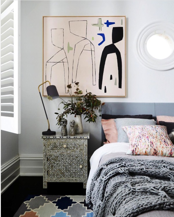 8 KEY ELEMENTS TO A MODERN & EFFORTLESSLY ECLECTIC BEDROOM - heydjangles.com - Element 8 - An understated rug. Abstract wall art, modern bedroom, eclectic decor. Image via: Fenton & Fenton