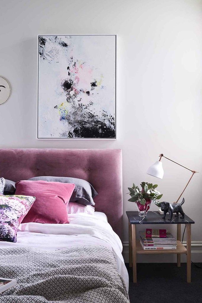 8 KEY ELEMENTS TO A MODERN & EFFORTLESSLY ECLECTIC BEDROOM - heydjangles.com - Element 2 - a padded headboard. Pink velvet headboard, padded headboard, modern bedroom, blush decor, abstract wall art. Image via: Fenton & Fenton