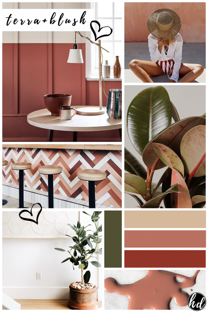 FEBRUARY MOOD BOARD: Warm Terra Cotta + Blush, heydjangles.com. Terra cotta and blush pink mood board color inspiration, terra cotta, terra rossa, color palette ideas.