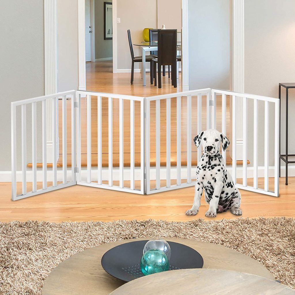 Petmaker Freestanding Pet Gate via Amazon