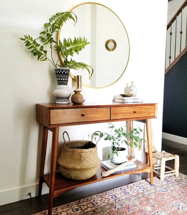 LOOK FOR LESS: 3 Designer Inspired Modern Boho Entryways under $570 each using only Target products. Boho-chic, bohemian decor, modern boho entryway, midcentury console. Image source: Crave Interiors.