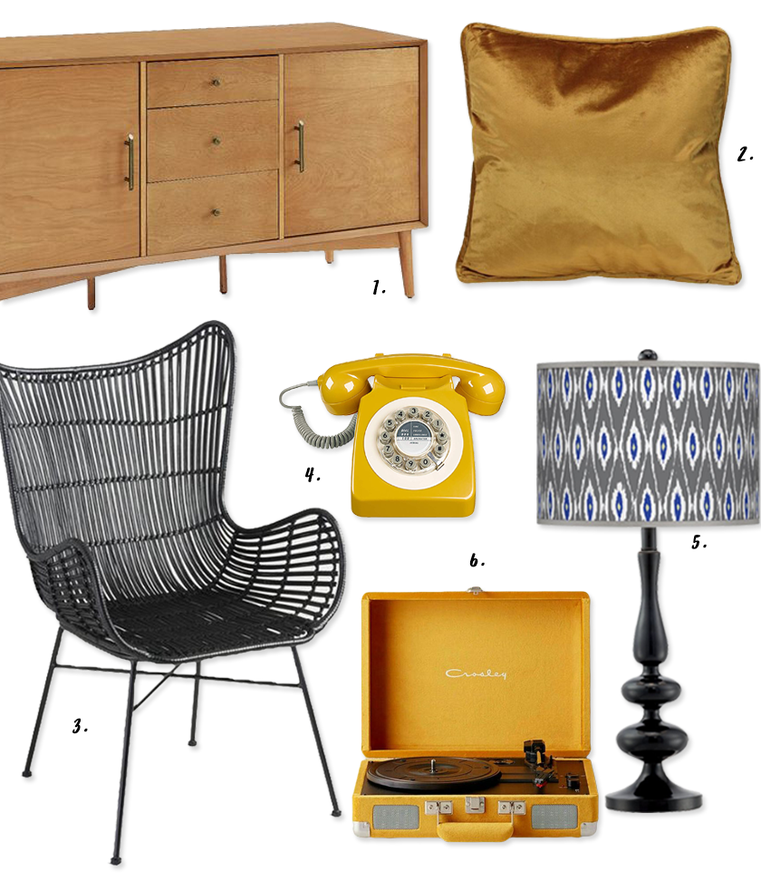 Decorating With Mustard Yellow - heydjangles.com - Mustard and black go so well together! Mustard and black decor ideas, retro inspired, 70's style, retro telephone and turntable, mid-century buffet, velvet pillow #mustardyellow #retrodecor #70sstyle