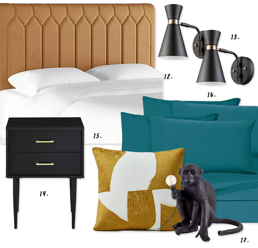 Decorating With Mustard Yellow - heydjangles.com - Mustard yellow and blue/teal bedroom decorating ideas, midcentury vibes, velvet mustard yellow tufted headboard - so luxe! #bedroomdecorideas #eclecticstyle #mustardaesthetic