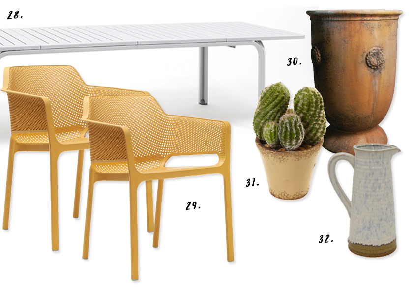 Decorating With Mustard Yellow - heydjangles.com - Mediterranean patio decorating ideas, where to buy, mustard yellow patio chairs, terra cotta planters, cacti. #terracotta