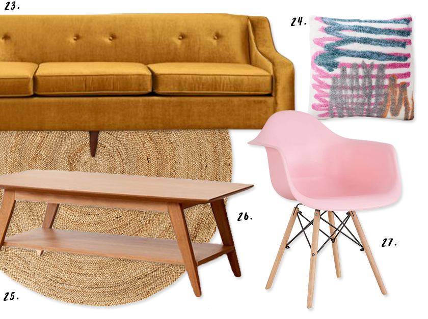 Decorating With Mustard Yellow - heydjangles.com - mustard yellow and pink living room decorating ideas, where to buy, mustard velvet sofa, round jute rug, pink eames chair, mid-century coffee table. #livingroomideas #midcenturyvibes