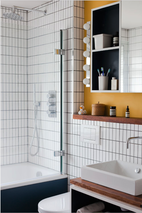 Decorating With Mustard Yellow - heydjangles.com - Scandinavian bathroom, mustard yellow splash back. Image by Megan Taylor for Nimtim Architects. #bathroomideas #scandistyle