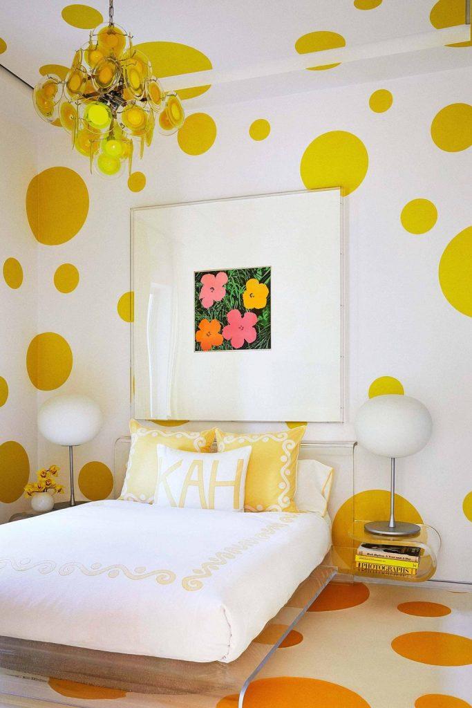 Yellow Polka Dot Bedroom, Image via Vogue Living
