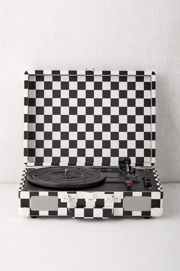 4 EASY WAYS TO ADD MODERN RETRO CHARM TO YOUR HOME - heydjangles.com - 4. With decor! UO Crosley Checkerboard Cruiser Bluetooth Record Player, retro tech, retro audio. #retrodecor