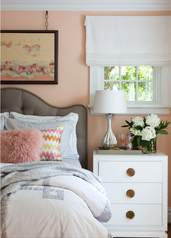 7 Gorgeous Pink Bedrooms That You Can Totally Re-create at Home - heydjangles.com. Peachy pink and feminine bedroom. Modern farmhouse pink bedroom decor ideas. Pink  bedroom. Image via Laura Lee Home #pinkbedroom