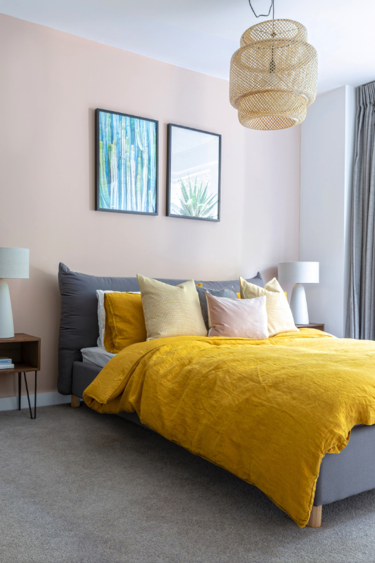 7 Gorgeous Pink Bedrooms That You Can Totally Re-create at Home - heydjangles.com. Pink and yellow Scandinavian bedroom. Millennial pink bedroom decor ideas. Pink and yellow bedroom. Image via Anna Yanovski Photography. #pinkbedroom #scandinavianbedroom