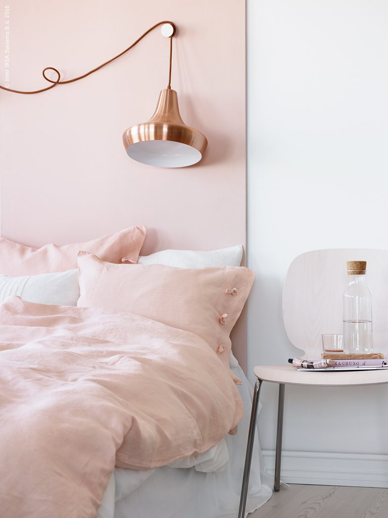 7 Gorgeous Pink Bedrooms That You Can Totally Re-create at Home - heydjangles.com. Pink Scandinavian bedroom decorating inspiration. Pink bedroom decor ideas. Image via Ikea. #pinkbedroom #scandinavianbedroom