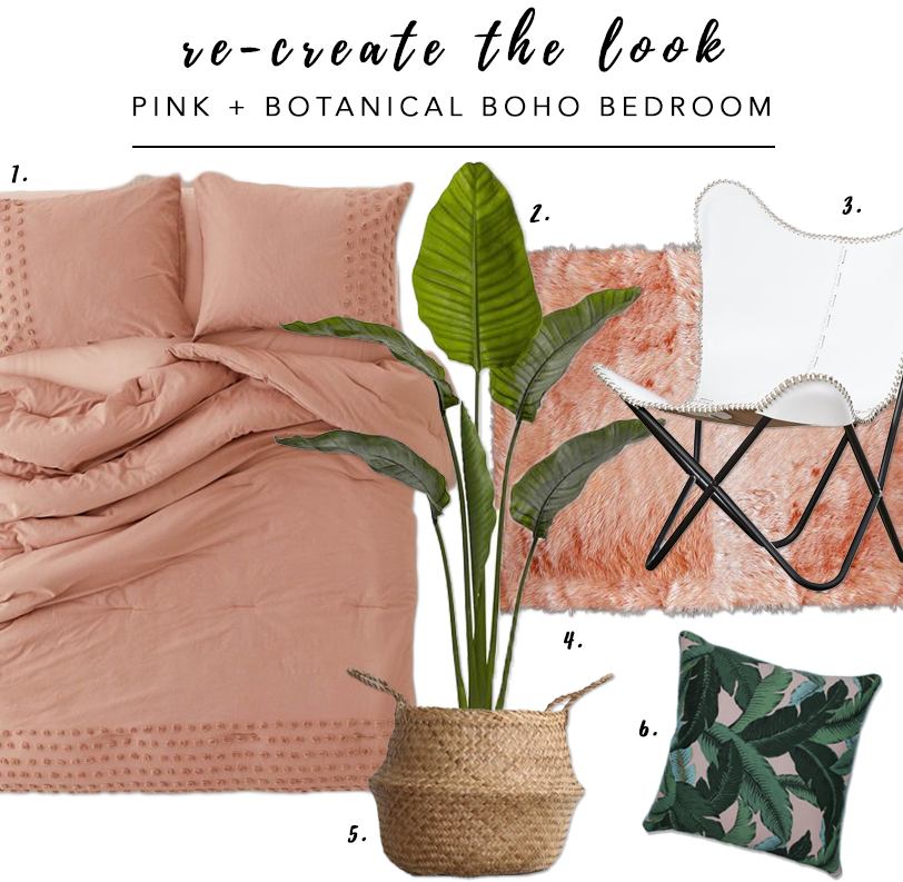 7 Gorgeous Pink Bedrooms That You Can Totally Re-create at Home - heydjangles.com. Botanical and pink boho-chic bedroom. Pink bedroom decor ideas. Re-create the look. #bohobedroom #bohochic