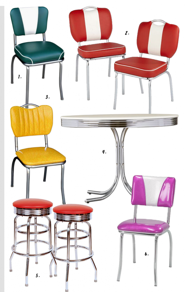 4 EASY WAYS TO ADD MODERN RETRO CHARM TO YOUR HOME - heydjangles.com - 3. With accent furniture! Retro kitchen, retro bar stools, retro dining chairs, retro diner, retro furniture, 50s inspired #retrodecor