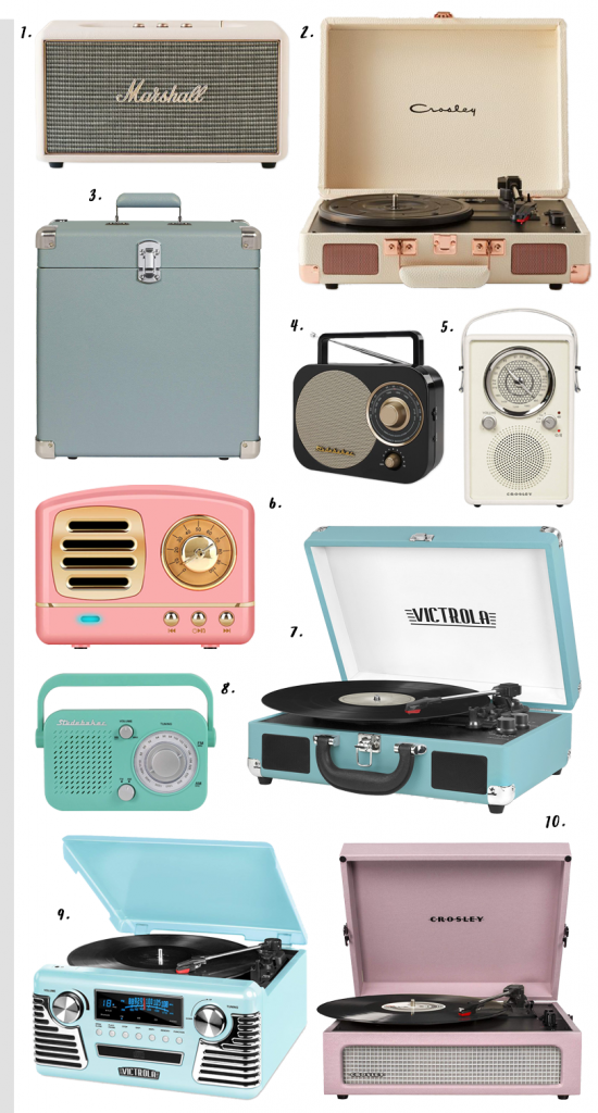 4 EASY WAYS TO ADD MODERN RETRO CHARM TO YOUR HOME - heydjangles.com - 4. With decor! Modern retro audio, transistor radio, Crosley turntable, Marshall speaker, Victrola turntable, Studebaker, retro sound, retro decor, vinyl, retro record player #retrodecor #retroaudio