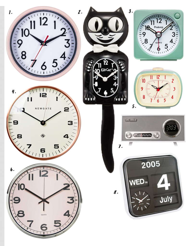 4 EASY WAYS TO ADD MODERN RETRO CHARM TO YOUR HOME - heydjangles.com - 4. With decor! Retro clocks, retro alarm clock, kit cat klock, cat clock, 50s inspired #retrodecor