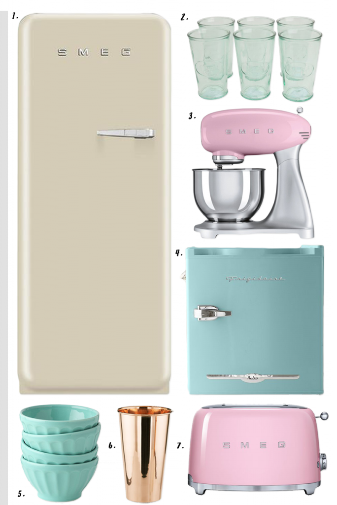 4 EASY WAYS TO ADD MODERN RETRO CHARM TO YOUR HOME - heydjangles.com - 4. With decor! Retro kitchen, pastel kitchen appliances, SMEG refrigerator, 50s inspired, retro kitchen decor #retrodecor #50skitchen