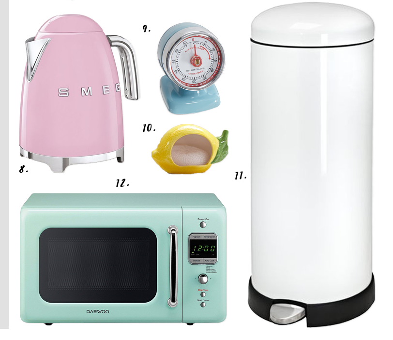 4 EASY WAYS TO ADD MODERN RETRO CHARM TO YOUR HOME - heydjangles.com - 4. With decor! Retro kitchen, pastel kitchen appliances, SMEG tea kettle, 50s inspired, retro kitchen decor #retrodecor #50skitchen