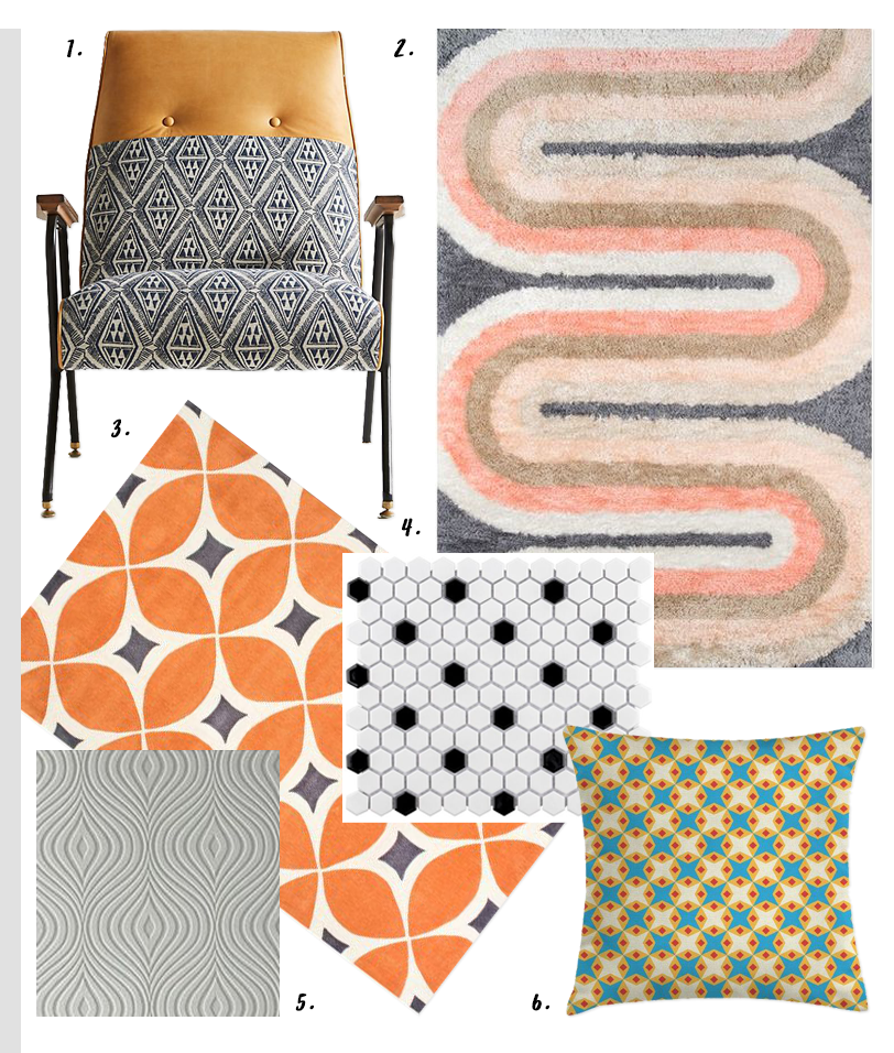 4 EASY WAYS TO ADD MODERN RETRO CHARM TO YOUR HOME - heydjangles.com - 2. With pattern! retro tile, mid-century vibes, retro accent chair, mid-century rug, retro embossed wallpaper #retrodecor #midcenturyvibes