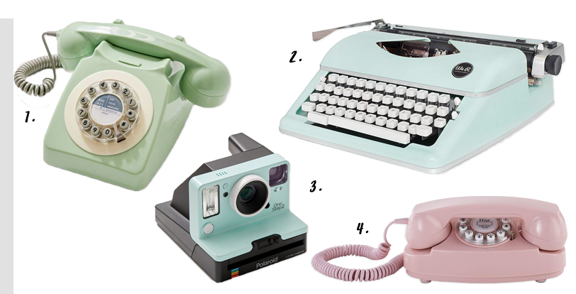 4 EASY WAYS TO ADD MODERN RETRO CHARM TO YOUR HOME - heydjangles.com - 4. With decor! Retro technology, retro telephone, retro phone, rotary telephone, vintage telephone, retro typewriter, polaroid camera, 50s inspired #retrodecor #retrotech