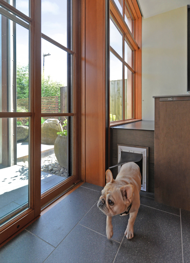 25+ STYLISH DOG DOOR IDEAS FOR THE DISCERNING PET OWNER - Hey, Djangles. Hidden dog door in  cabinet, wall mount dog door, pet door ideas, glass dog door ideas, French bulldog. Image: Kyle Kinney & Jordan Inman.