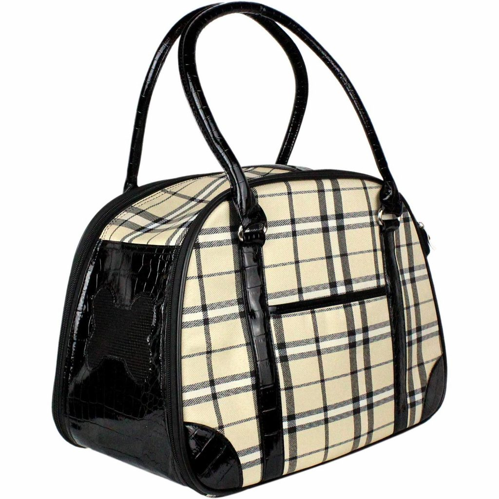 plaid dog carrier purse