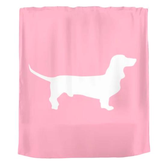 dachshund bathroom decor, pink dachshund shower curtain