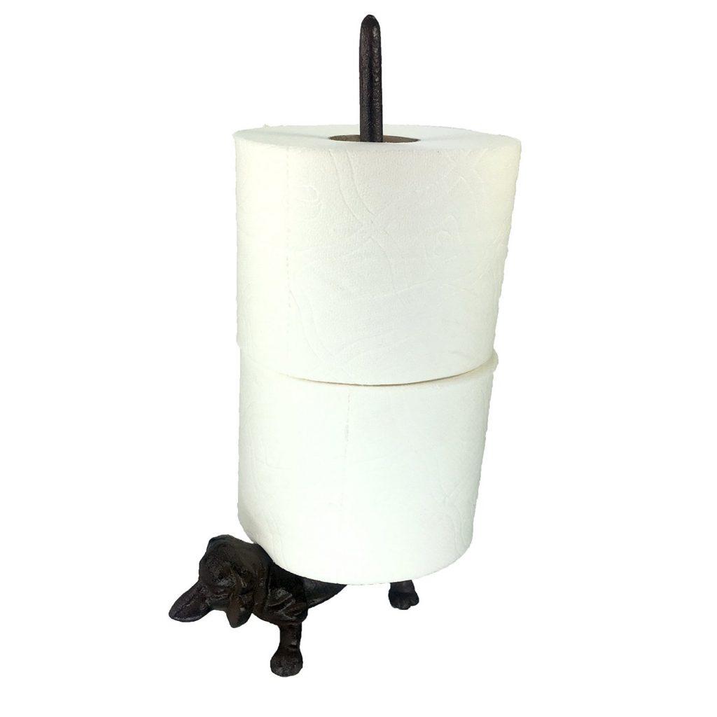 dachshund bathroom decor, dachshund toilet roll holder