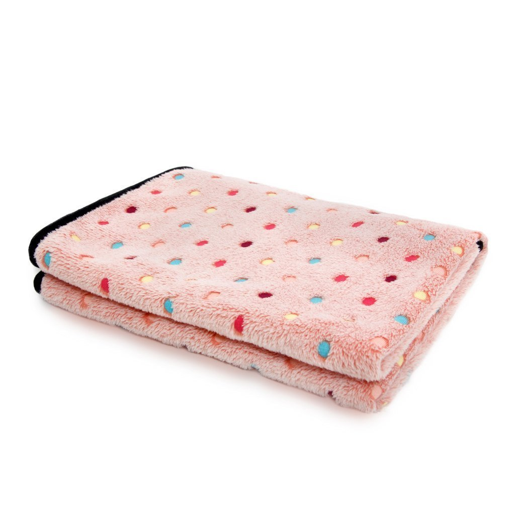 12 Gorgeous Gifts for New Puppy Parents, pink pet blanket with polka dots