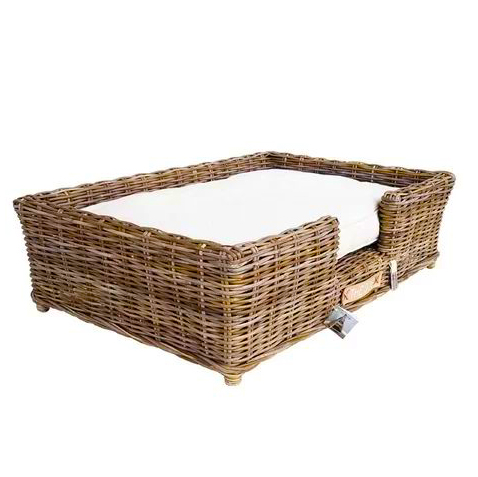 rectangle wicker pet bed with cushion, wicker dog beds and baskets