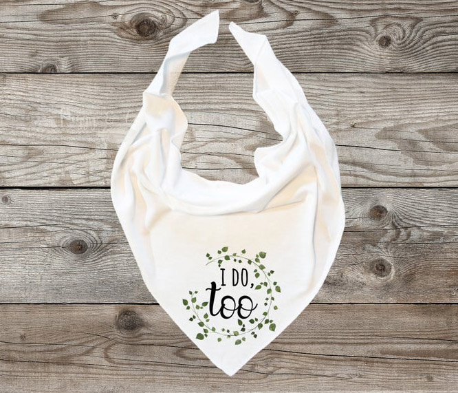 doggy wedding attire, dogs in wedding photos, 'i do too' dog bandana