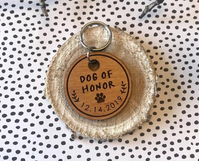 doggy wedding attire, dogs in wedding photos, 'dog of honor' dog tag