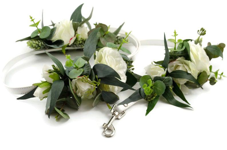 doggy wedding attire, dogs in wedding photos, dog floral greenery collar and leash set