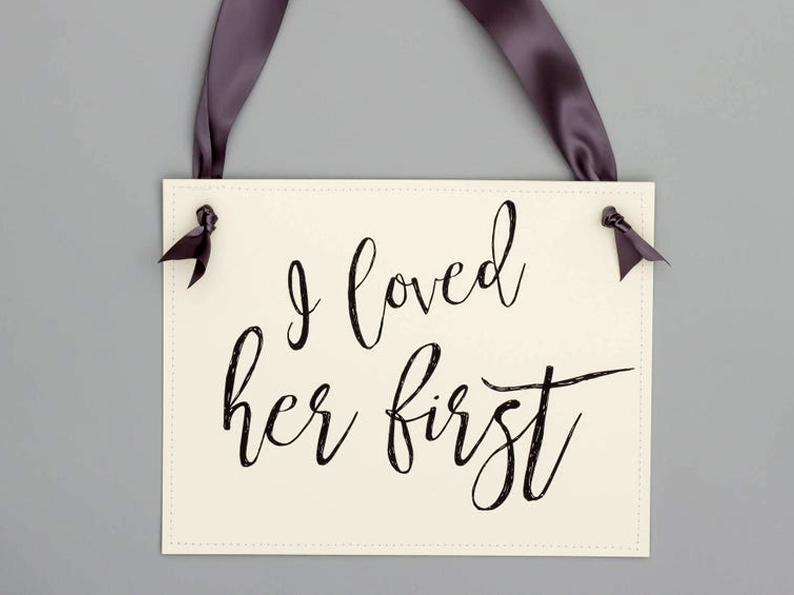 doggy wedding attire, dogs in wedding photos, dog sign 'i loved her first'