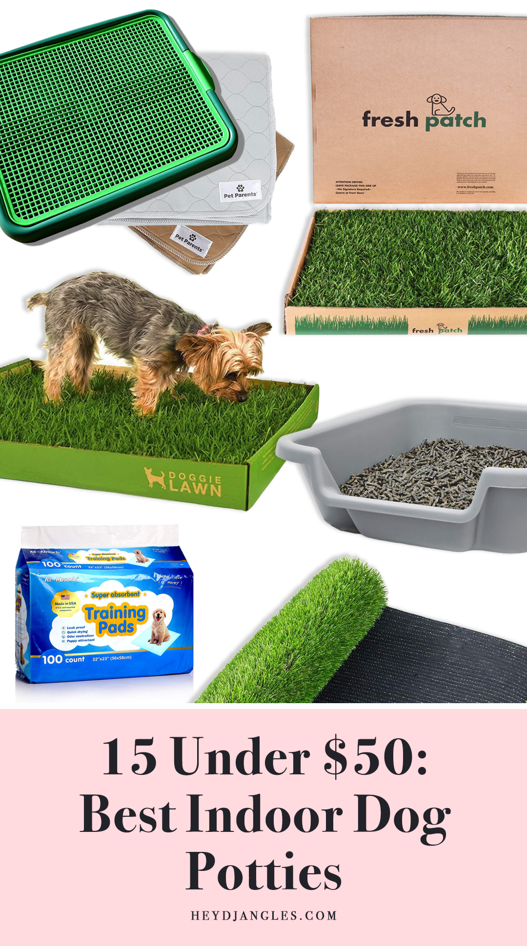 15 UNDER $50: Best Indoor Dog Potties –heydjangles.com, puppy toilet training, indoor dog potty, potty training your dog.