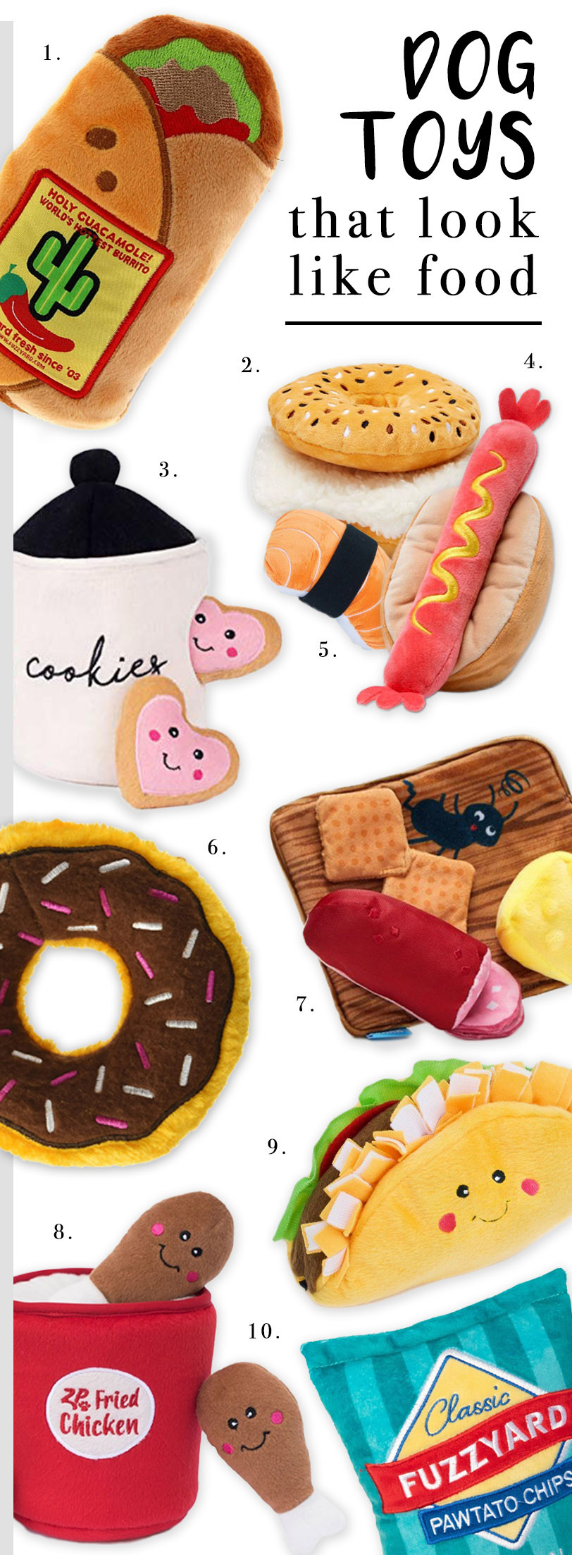ROUND-UP: 22 Dog Toys That Look Like Food (Including Burritos!) - heydjangles.com - plush dog toys, food-themed dog toys, fun dog toys for foodies.