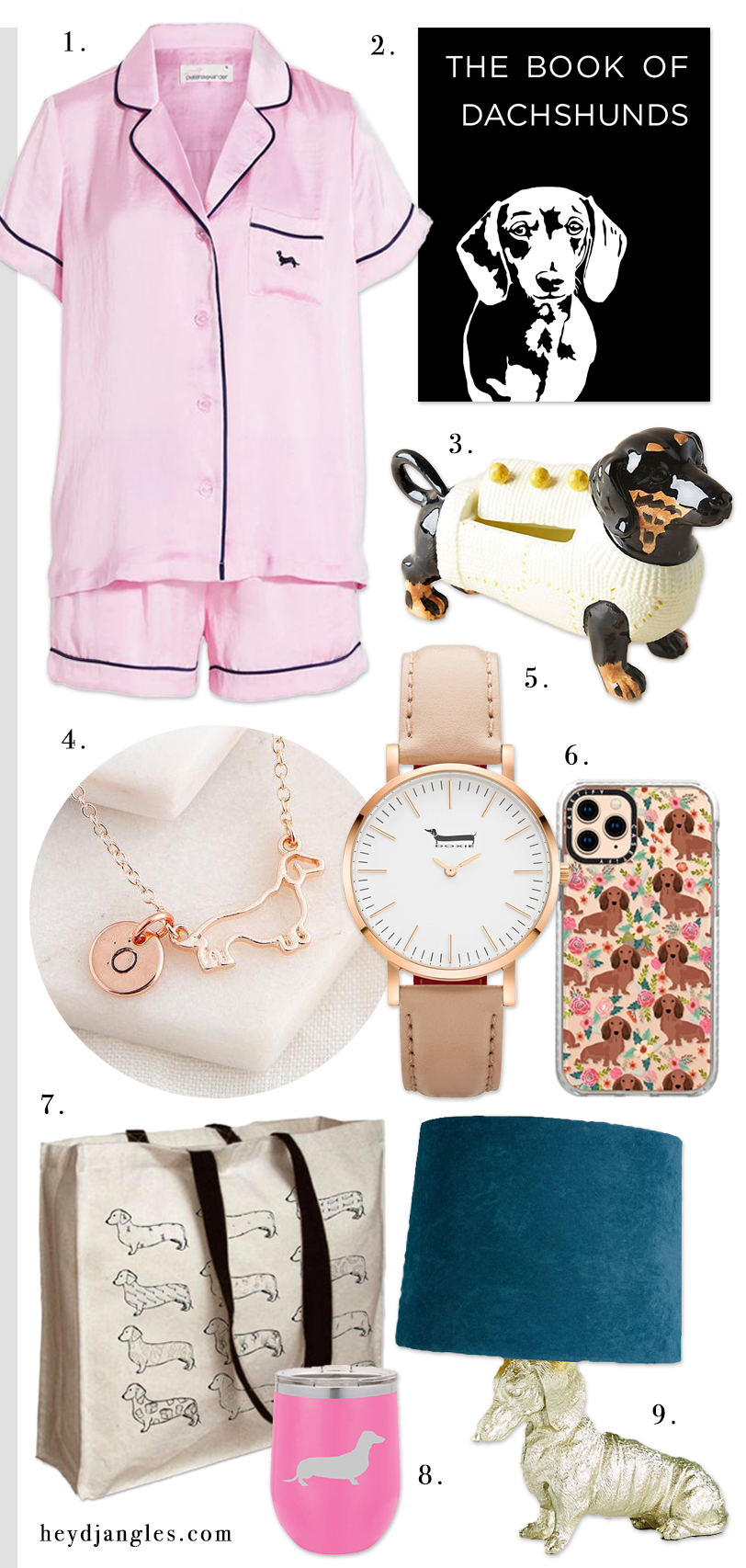 GIFT GUIDE: 9 STYLISH DACHSHUND GIFTS FOR HER – heydjangles.com – Gift guide for Dachshund lovers, Dachshund gift ideas, dog lover gift guide, Doxie fans.