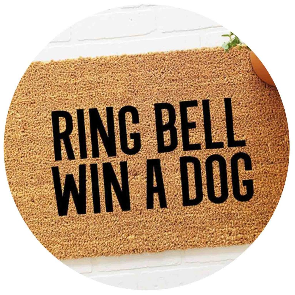 15 UNDER $50: Cute Dog Themed Doormats – Ring bell win a dog.