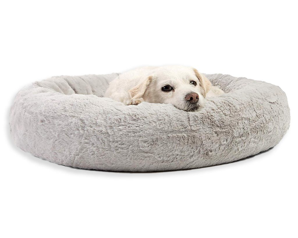 Best Orthopedic Dog Beds for Arthritis - heydjangles.com - faux fur snuggle bed.
