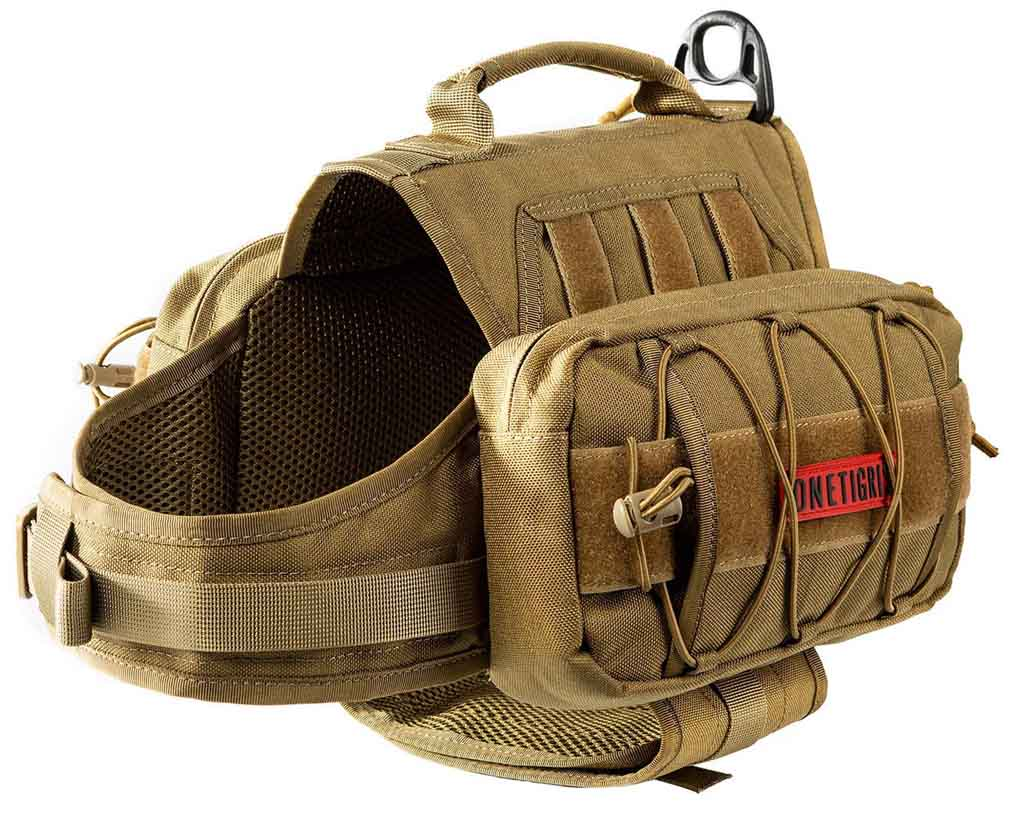 8 Best Saddlebags for Dogs: Backpacks for Adventurous Canines! – heydjangles.com – best dog saddle bags, dog backpacks with saddle bags, tactical dog backpacks, dogs that hike, OneTrigris Mammoth tactical pack.