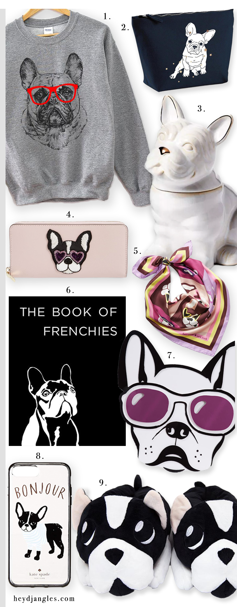 GIFT GUIDE: 9 Adorable French Bulldog Gifts for Her – heydjangles.com – French Bulldog accessories for humans, Frenchie gifts, Frenchie gift ideas, gift ideas for dog lovers. #doglover #frenchbulldoggifts