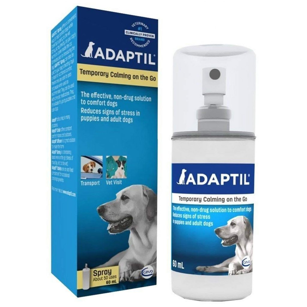 REVIEW: Adaptil Calming Spray for Dogs – heydjangles.com – Adaptil Spray Review, dog calming aids, how to calm an anxious dog, over the counter dog anxiety medication.