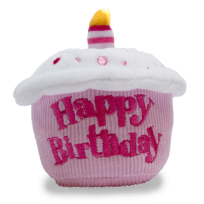 Happy birthday cupcake plush toy for dogs